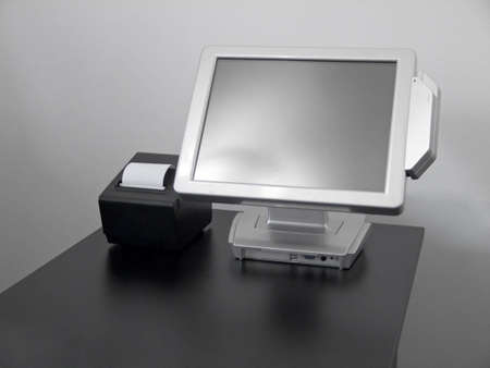 fiscal: Touch-screen LCD display cash register for restaurants with fiscal printer Stock Photo
