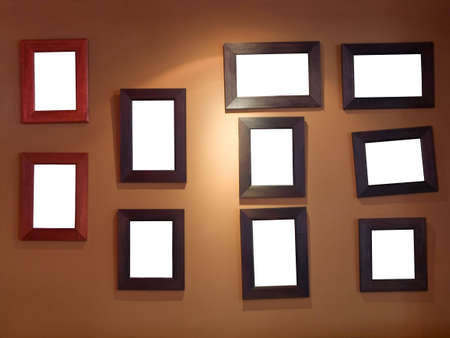 art gallery: Ten frames on wall Stock Photo