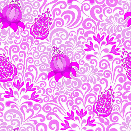 Seamless floral pattern, vector. Purple and pink flowers on white background.