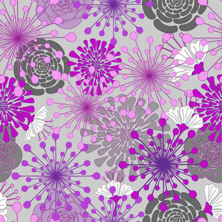 Seamless floral pattern, vector. Hand draw flowers on gray background.