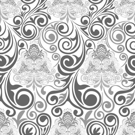 Damascus seamless gray pattern on white background.