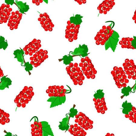 Red currant berries on white background. Seamless pattern, vector. Vektoros illusztráció
