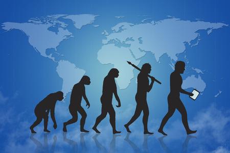 De mens en de technologische evolutie met blauwe kaart van de aarde achtergrond. Evolutie van aap tot de moderne mens en verder naar digitale mens digitale mensen man met slimme apparaat. Op de achtergrond is een kaart van de wereld.