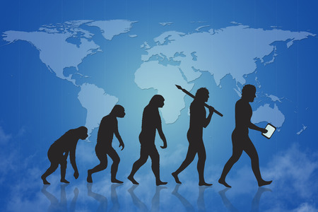 animal origin: Human and technology evolution with blue map of earth background. Evolution from ape to modern man and beyond to digital man digital people man with smart device. In the background is a world map.