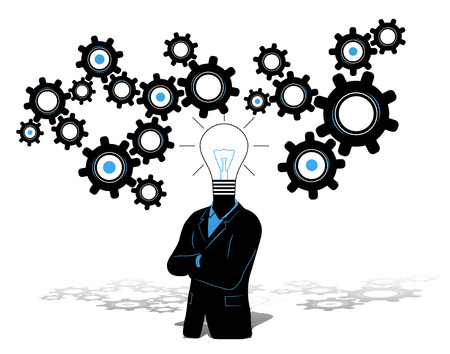 new business problems: Concept of businessman with idea and thinking progress above. Businessman in black suite with light bulb symbol instead of head and gears thinking progress symbol in the background.