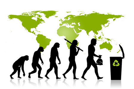 human evolution: Human and Ecology evolution with map of earth background. Evolution of man in ecology concept. From monkey to modern man with trash in his hands. Modern man is placing trash into a trash can with recycle sign on it.