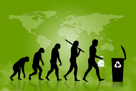 Human and Ecology evolution with map of earth background. Evolution of man in ecology concept. From monkey to modern man with trash in his hands. Modern man is placing trash into a trash can with recycle sign on it.