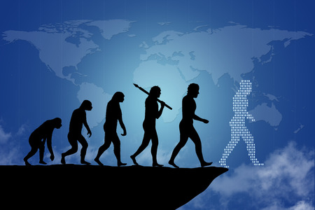 evolution: Human evolution into the present digital world. Human evolution of man  people from monkey to modern man and digital man going towards the end of the cliff. Ending an era or it can be as a risk to end a business project  company. Behind is the map of the