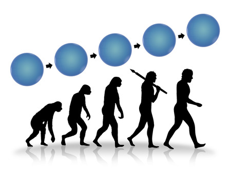 new business problems: Growth and progress as image of evolution. Evolution from ape to modern man in black silhouette. Concept can be used also for growth of business or company developing industry etc. With blue circle blocks for your text.
