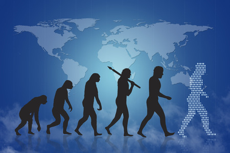 an era: Human evolution into the present digital world. Evolution from ape to modern man and beyond to digital man digital people. In the background is a world map. It can be also a concept for growing business or progress of company and similar. Stock Photo