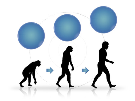 new business problems: Growth and progress as image of evolution with blocks for your text. From start to finish growing up in three steps with copy space circles above the evolution symbols.