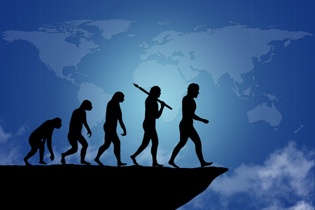 human evolution: Human evolution on the cliff with blue map of earth background. Human evolution of man  people from monkey to modern man going towards the end of the cliff. Ending an era or it can be as risk to end a business project  company.