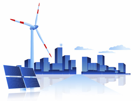 photovoltaic panel: Concept of Solar Panel and Wind Turbine at the road to City. Wind turbine and solar panel are representing new  clean  green energy energy of our future which powers the city and gives energy for energy powered objects.