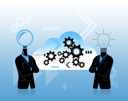 Solving problem concept with two businessman. First with search symbol instead of head second with  idea symbol. Between is data cloud with progress  thinking  growth symbols. Stock Photo