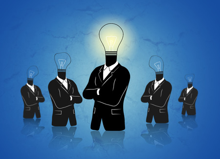 new business problems: Concept of a thinking standing out businessman with idea. First businessman has a bright light bulb because he has an idea. Other behind have no lights they have no idea.