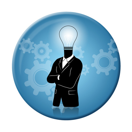 new business problems: Concept of businessman with idea and thinking progress above on a badge. Businessman in black suite with idealight bulb symbol instead of a head on a round 3D badge.
