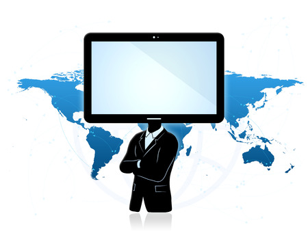 Global communications concept. Abstract Businessman with tablet instead of head and world map in background. Concept of abstract communication and signals all around the world.