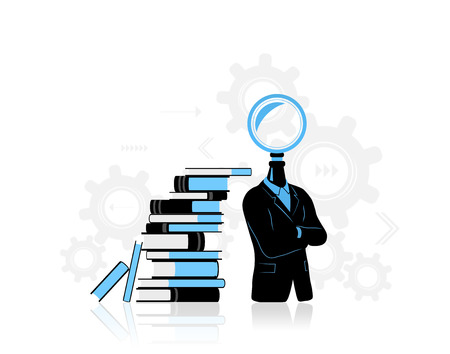 new business problems: Concept of businessman thinking  searching for idea. Businessman with search symbol instead of his head. Standing near a pile of books they represent data. Background is made from gears progressthinking. Stock Photo