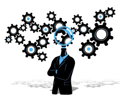 new business problems: Concept of businessman thinking  searching for idea. Businessman in black suite with search symbol instead of head and gears thinking progress symbol in the background.