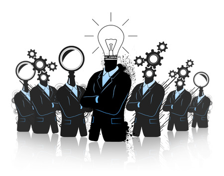 new business problems: Teamwork concept with three different businessman searching thinking and idea symbols. All together are a team and are developing an idea. They are in a progress of thinking developing searching for idea.