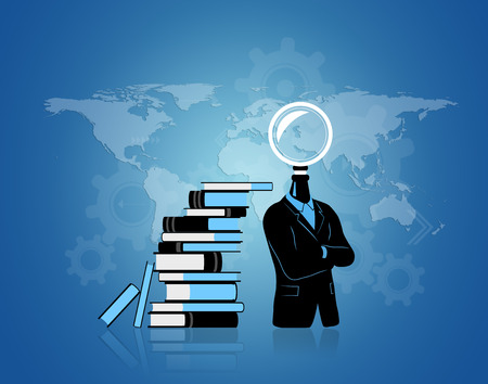 world thinking: Concept of businessman thinking  searching for idea with world background. Businessman with search symbol instead of his head. Standing near a pile of books they represent data. Background is made from gears progressthinking and map of the world.