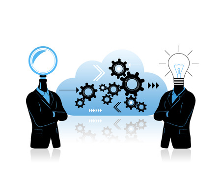 new world order: Teamwork concept with two businessman searching and idea symbols. Solving problem concept with two businessman. First with search symbol instead of head second with  idea symbol. Between is data cloud with progress  thinking  growth symbols. Stock Photo