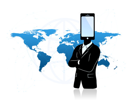 Global communications concept. Abstract Businessman with phone instead of head and world map in background. Concept of abstract communication and signals all around the world. Stock Photo