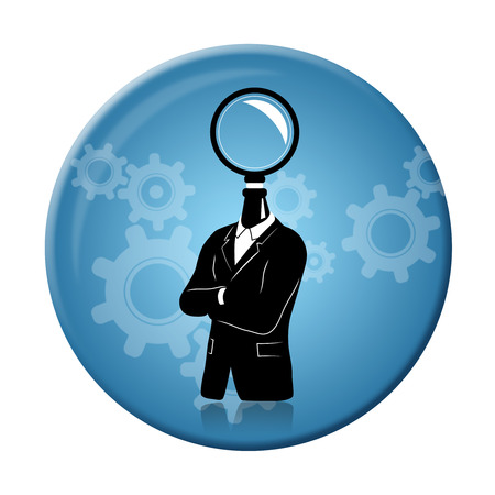 new business problems: Concept of businessman thinking  searching for idea. Businessman in black suite with search symbol instead of a head on a round 3D badge. Stock Photo