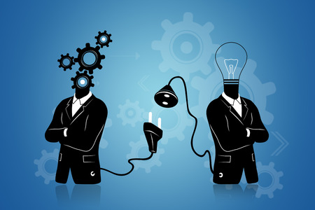 Concept of searching for  connecting to Idea. Businessman in black suite with gears thinking symbol instead of head connecting to another businessman with light bulb idea instead of head. Connection of thinking and idea on blue background. Archivio Fotografico