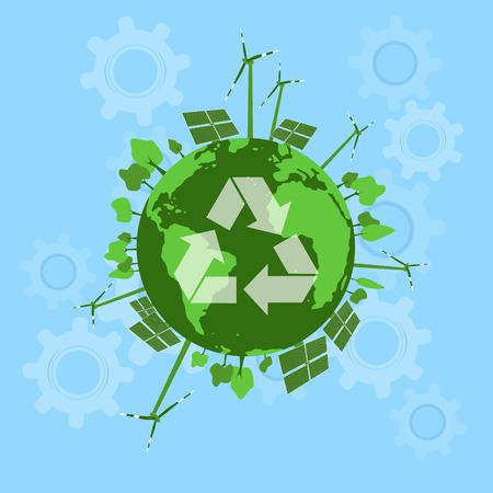 solar equipment: Concepto de energ�a verde. Los paneles solares y turbinas de viento con el paisaje urbano en el globo terr�queo. Limpie la energ�a verde conectada con la ciudad y los �rboles de la naturaleza. Arriba est� el cielo limpio de nubes.