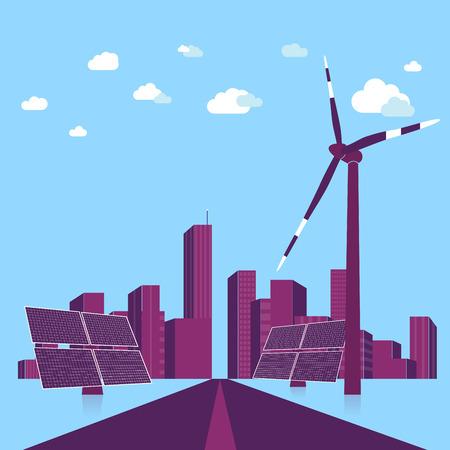 solar equipment: Concepto de energ�a verde. Vectores