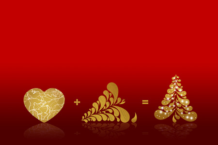 gold ornaments: Christmas background card