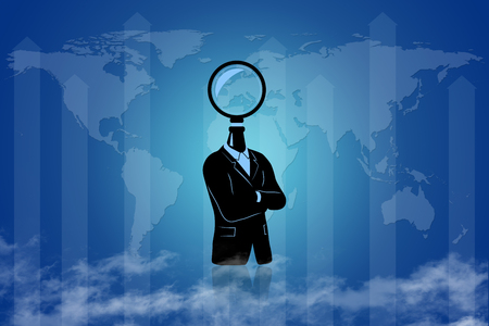 Man searching - the world - for solution -  for the answer.