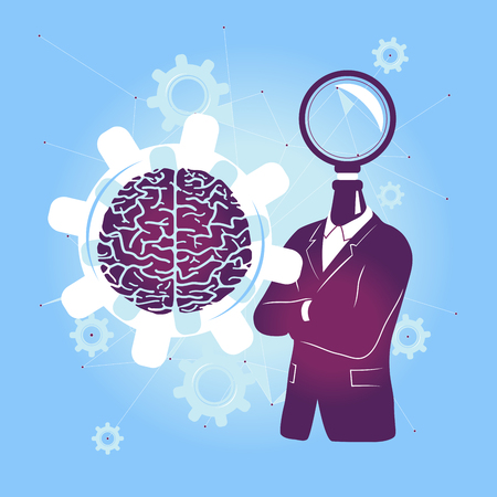 Search the Mind / Research the Brain to find the solution. Vector illustration with Brain and Blue Background.