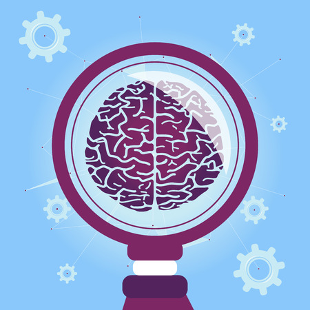 Search the Mind  Research the Brain to find the solution. Vector illustration with Brain and Blue Background.