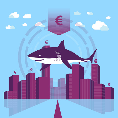Trouble in business world - Shark in a business town.