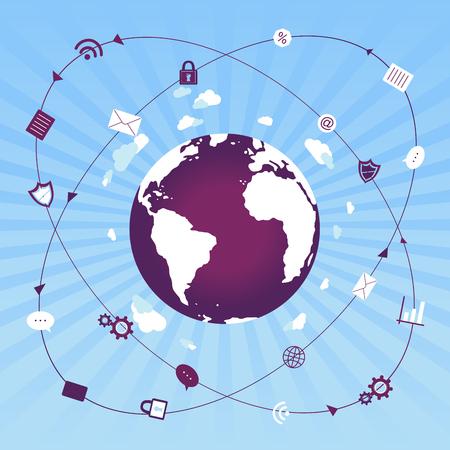 Global world network data traffic Vettoriali