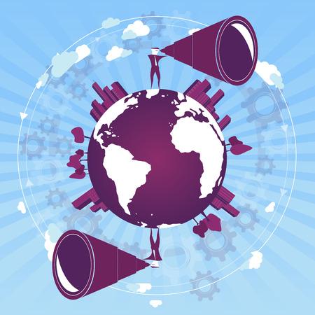 Search the world / globe. Concept background. Vettoriali