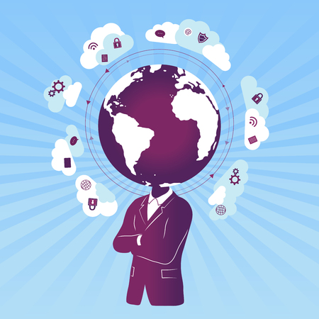 Businessman with global / cloud data