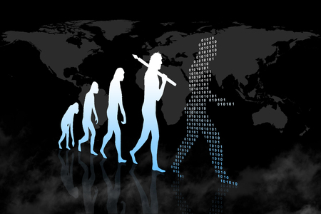 La evolución humana en el mundo moderno / digital Foto de archivo