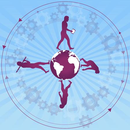 Human evolution to modern / digital world Vettoriali