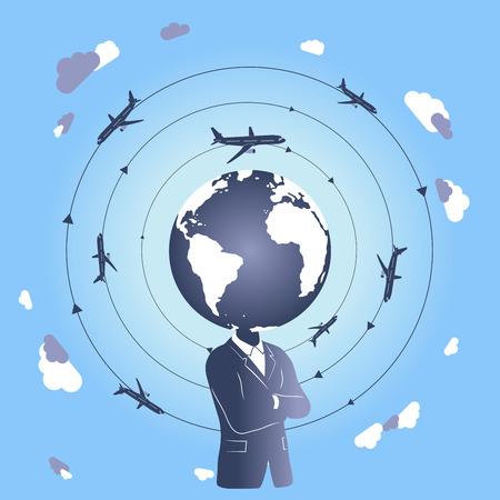fly around: World travel  business travel  plane travel Illustration