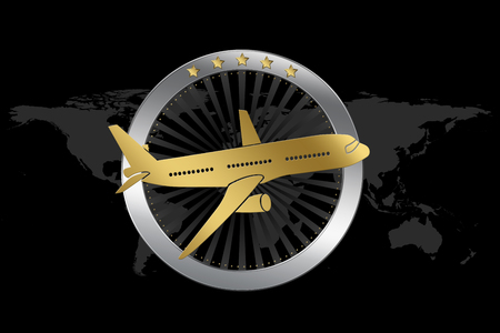 Travel  Airline symbol. Symbol of traveling (with plane) on world map background. 版權商用圖片