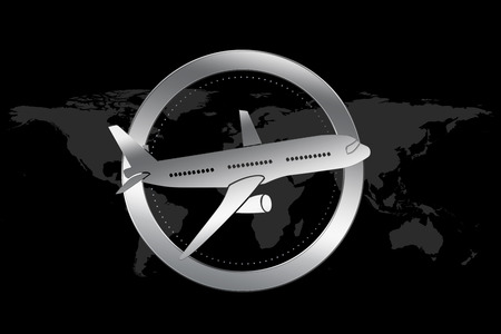 Travel / Airline symbol. Symbol of traveling (with plane) on world map background.