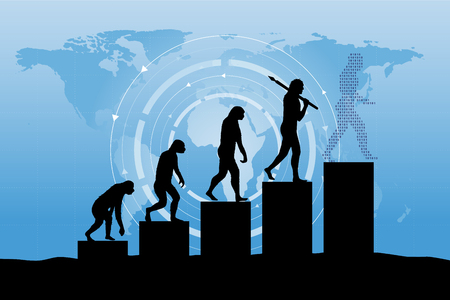 Human evolution into the present - digital world business growth.