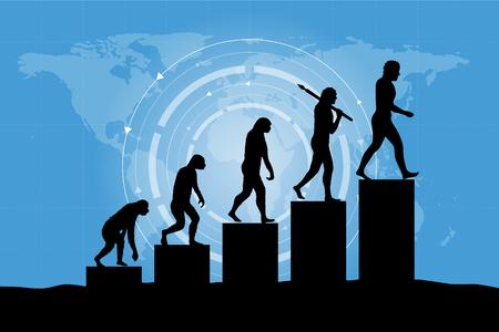 Human evolution into the present - digital world business growth.