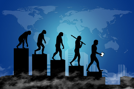 Human evolution into the present digital world. Business risk concept!