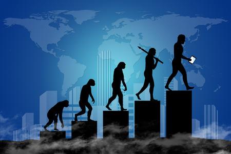 Human evolution into the present digital world. Business risk concept!
