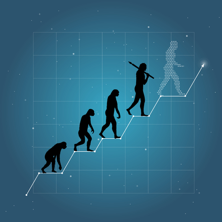 Business growth chart with human evolution