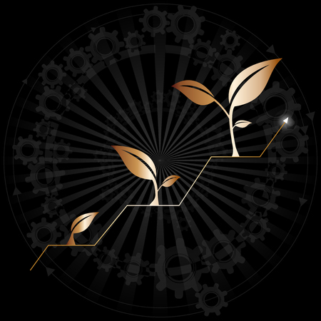 Growth of business or economy as elegant black / gold background.